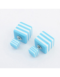Waltons Blue Square Shape Decorated Simple Design Acrylic Stud Earrings