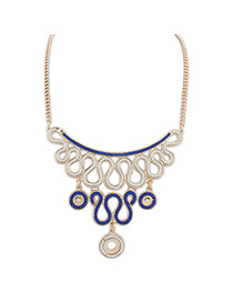 Rebel Blue Diamond Decorated Simple Design Alloy Bib Necklaces
