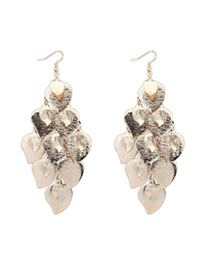 Stretch Gold Color Leaf Shape Decorated Tassel Design Alloy Korean Earrings