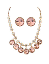 Steelers Pink Diamond Decorated Round Shape Design Alloy Jewelry Sets