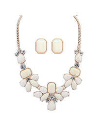 Layered Beige Gemstone Decorated Waterdrop Shape Design Alloy Jewelry Sets