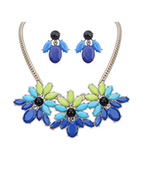 Baltic Dark Blue Gemstone Decorated Flower Design Alloy Jewelry Sets