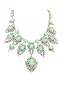 Greek Green Diamond Decorated Flower Design Alloy Fashion Necklaces