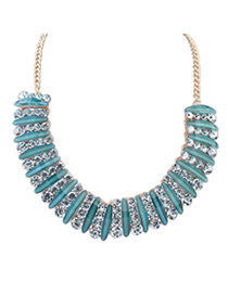 Victorian Blue Diamond Decorated Simple Design Alloy Fashion Necklaces