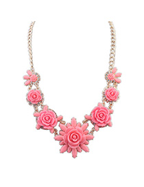 Fancy Plum Red Flower Shape Decorated Simple Design Alloy Korean Necklaces