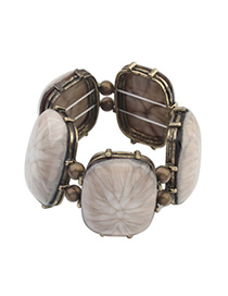 Volcom Beige Gemstone Decorated Simple Design Alloy Korean Fashion Bracelet