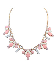 Musical Pink Gemstone Decorated Waterdrop Shape Design Alloy Bib Necklaces
