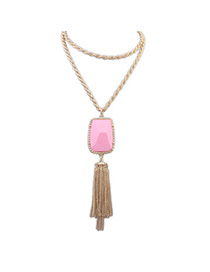 vintage Pink Gemstone Decorated Tassel Design Alloy Bib Necklaces