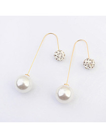 trendy White Diamond Decorated Round Shape Design Alloy Korean Earrings