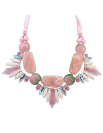 Sweet Pink Gemstone Decorated Geometry Design Alloy Bib Necklaces