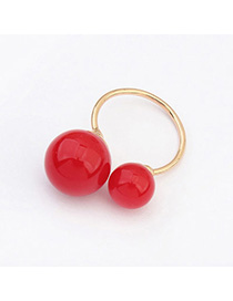 Korean Red Round Ball Decorated Simple Design Alloy Korean Rings
