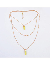 personalized Yellow Bullet Shape Pendant Decorated Multilayer Design Alloy Chains