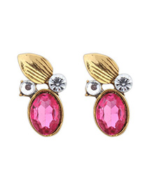 Joker Plum Red Diamond Decorated Leaf Shape Design Alloy Stud Earrings