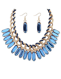 elegant Blue Oval Shape Decorated Weave Design Alloy Jewelry Sets