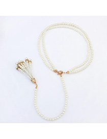 Elegant White Pearl Decorated Double Layer Design Alloy Beaded Necklaces
