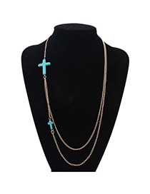 Popular Blue Cross Shape Decorated Double Layer Design Alloy Chains