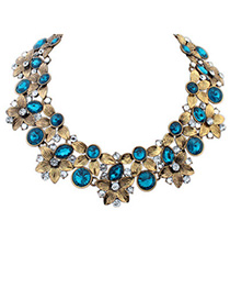 Retro Dark Green Diamond Decorated Flower Design Alloy Bib Necklaces