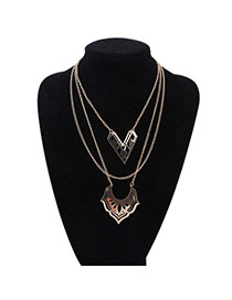 Charming Gold Color Multilayer Decorated Hollow Out Design Alloy Bib Necklaces
