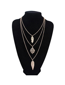 Hot Sale Gold Color Leaf Shape Decorated Multilayer Design Alloy Chains