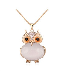 Trendy Beige Owl Shape Decorated Simple Design Alloy Chains