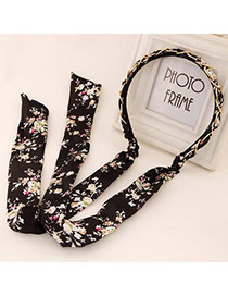 Trendy Black Flower Pattern Decorated Bowknot Shape Design Alloy Hair band hair hoop