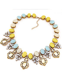 Brilliant Blue & Yellow Gemstone Decorated Oval Shape Design