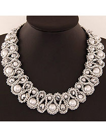 Luxurious White & Silver Color Beads Decorated Weave Design Alloy Bib Necklaces