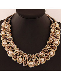 Luxurious Champagne Gold Beads Decorated Weave Design
