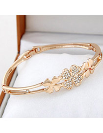 High-quality Gold Color Diamond Decorated Clover Shape Design Alloy Fashion Bangles