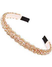 Handmade Apricot Beads Decorated Weave Design Alloy Hair Band Hair Hoop