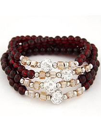 Summer Claret-red Beads Decorated Multilayer Design Alloy Korean Fashion Bracelet