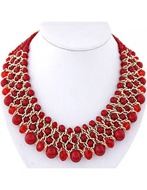 Fashion Red Pearl Decorated Multilayer Weave Design