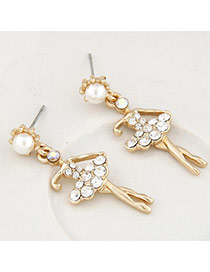 Sweet Gold Color Diamond Decorated Ballet Girl Shape Design Alloy Stud Earrings