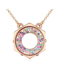 Brilliant Champagne Gold & Multicolor Diamond Decorated Round Shape Pendant Design Alloy Crystal Necklaces