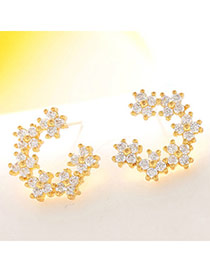 Elegant Champagne Gold Diamond Decorated Clover Shape Design  Cuprum Fashion earrings