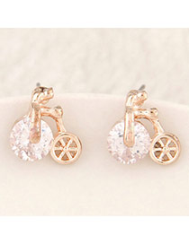 Pretty Gold Color Diamond Decorated Bicycle Shape Design  Alloy Stud Earrings