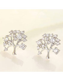 Boutique Silver Color Diamond Decorated Tree Shape Design  Cuprum Fashion earrings