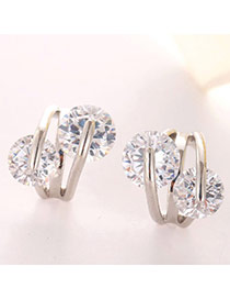 Sweet Silver Color Diamond Decorated Flower Design  Cuprum Fashion earrings