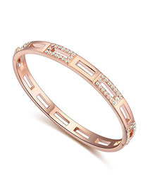 Upscale Rose Gold Diamond Decorated Hollow Out Design  Alloy Crystal Bracelets