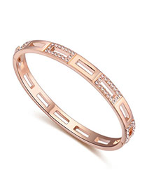Upscale Rose Gold & Pink Diamond Decorated Hollow Out Design  Alloy Crystal Bracelets