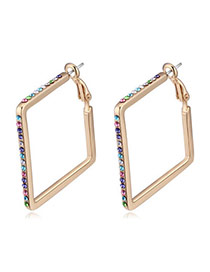 Vogue Champagne Gold & Multicolor Diamond Decorated Square Shape Design  Alloy Crystal Earrings