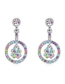 Temperament Multicolor Diamond Decorated Clover Shape Design  Alloy Crystal Earrings