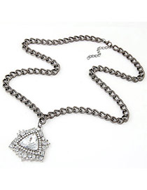 Wholesale Gun Black Diamond Decorated Triangle Shape Pendant Design Alloy Chains