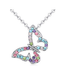 Lovely Multicolor Diamond Decorated Butterfly Shape Pendant Design  Alloy Crystal Necklaces