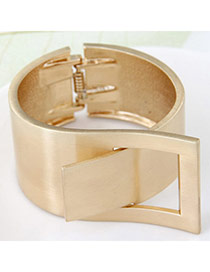 Joker Gold Color Strap Shape Decorated Simple Design  Alloy Fashion Bangles