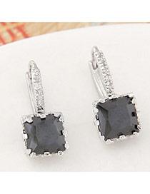 Parsimonious Black Gemstone Decorated Square Shape Design  Cuprum Stud Earrings