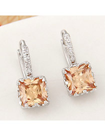 Personality Gold Color Stone Decorated Trilateral Design Alloy