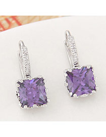 Parsimonious Purple Gemstone Decorated Square Shape Design  Cuprum Stud Earrings