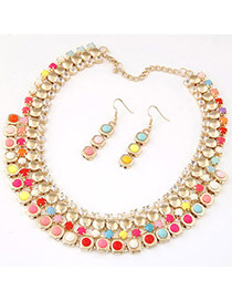 Temperament Multicolor Gemstone Decorated Multilayer Design