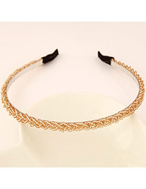 Pretty Champagne Gold Beads Decorated Weave Design  Alloy Hair band hair hoop